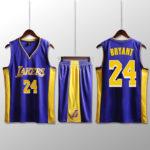 Bộ quần áo bóng rổ Kobe - Tím sọc vàng