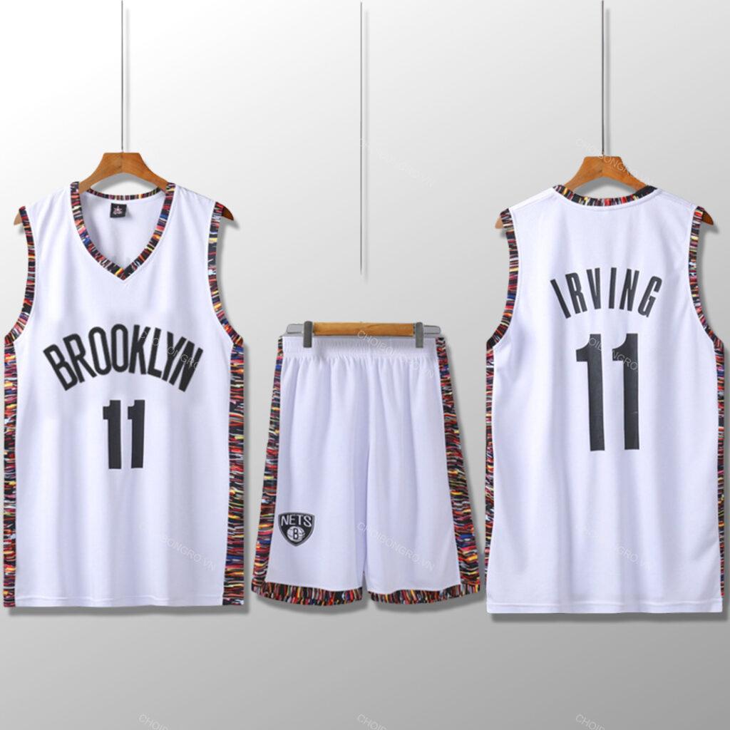 Bộ quần áo bóng rổ Kyrie Nets - City Editions Trắng