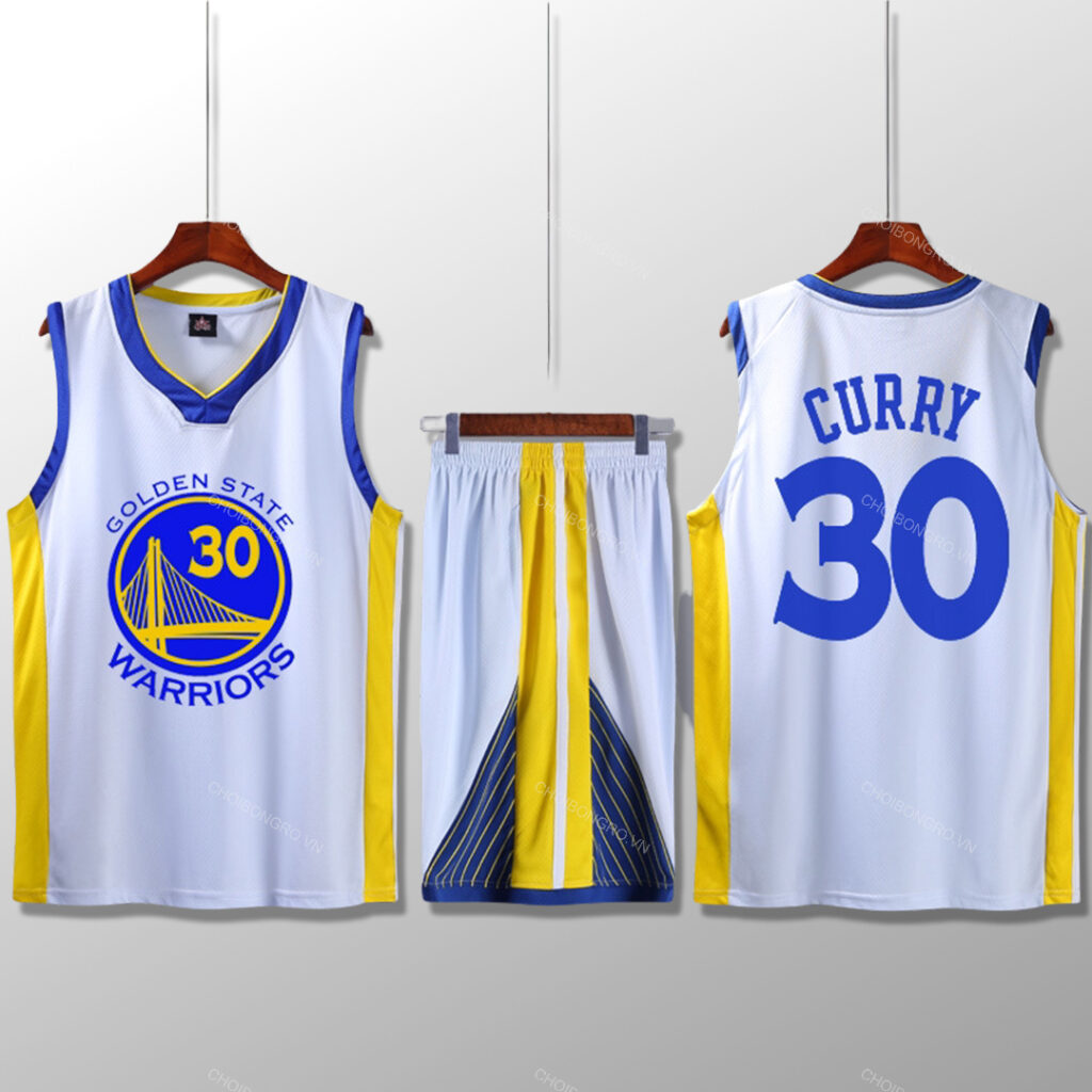 Bộ quần áo bóng rổ Curry - Trắng